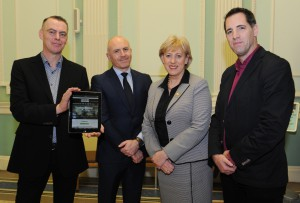 L-R: Prof Mike Cronin, (Academic Director, Boston College), Glen Killane (Managing Director of Television, RTÉ), Minister for Arts, Heritage and the Gaeltacht Heather Humphreys TD and Mark Duncan (Director, Century Ireland) at the launch of Century Ireland's Easter Rising online exhibition at the National Library of Ireland on 26 January 2015.