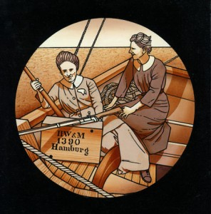 Detail from 'Molly Childers and Mary Spring-Rice aboard the Asgard', by Robert Ballagh.